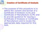 creation of certificate of analysis