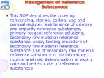 management of reference substances