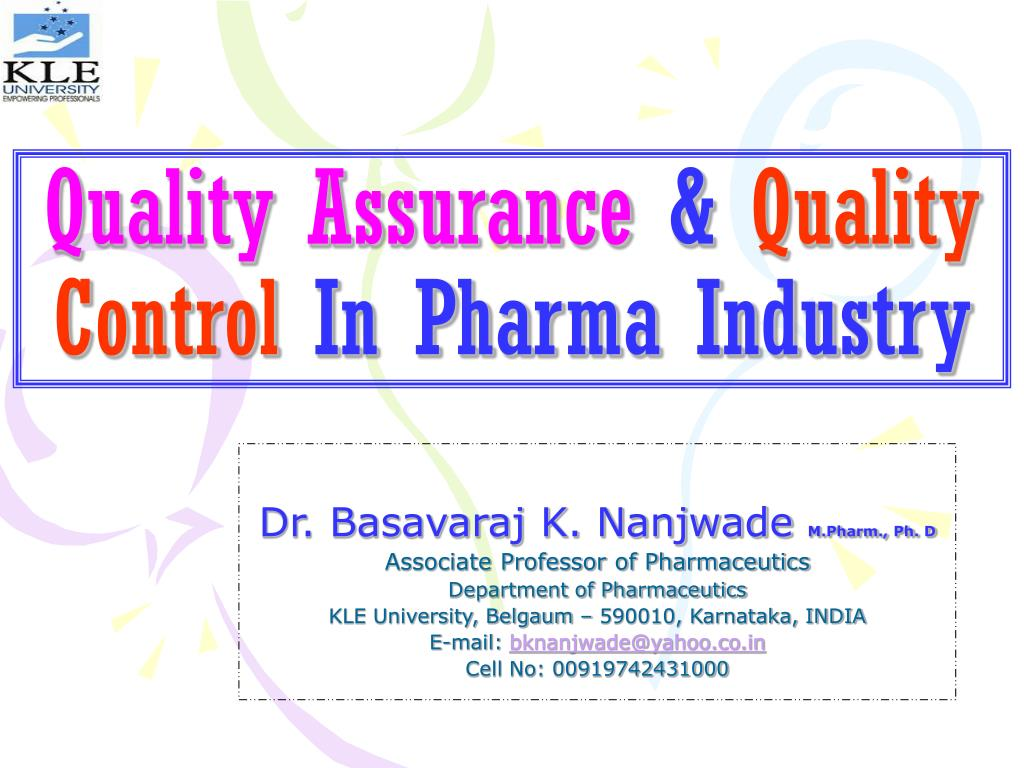 quality assurance quality control in pharma industry l.