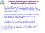 quality documentation control tracking and distribution