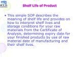 shelf life of product