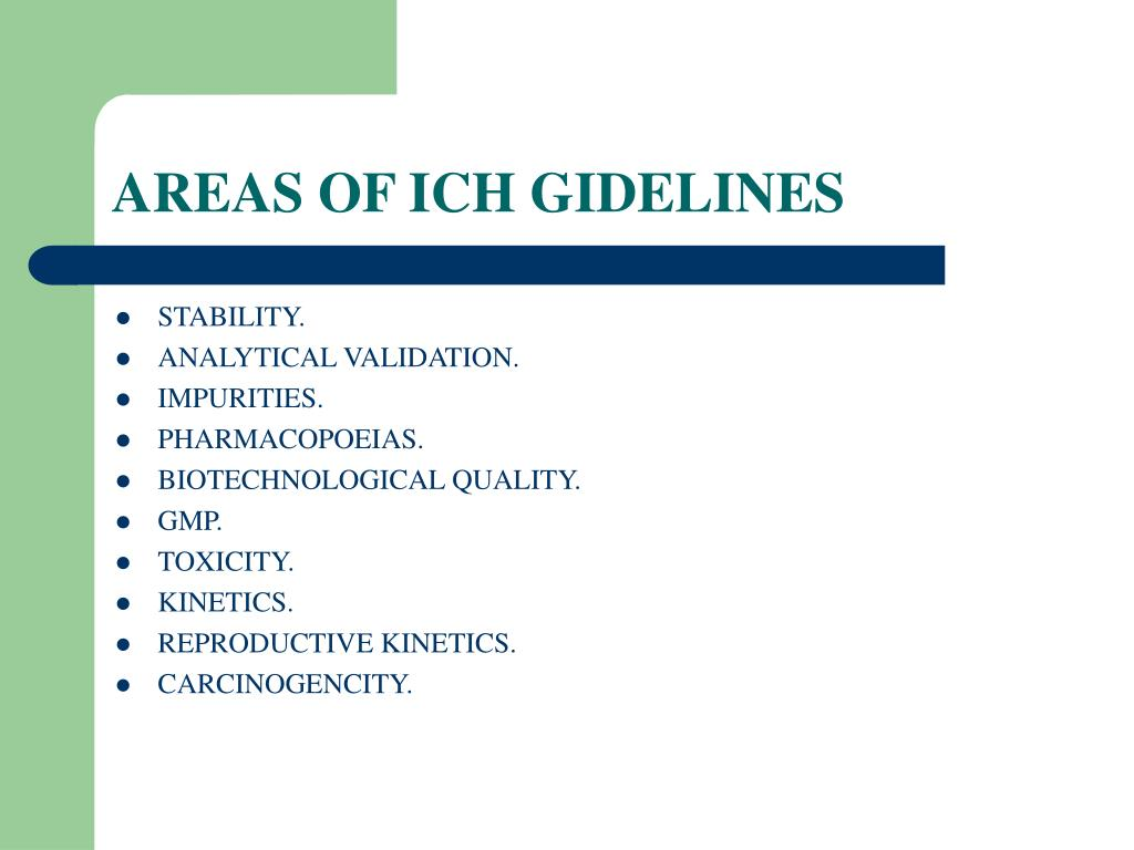 AREAS OF ICH GIDELINES