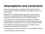 assumptions and constraints