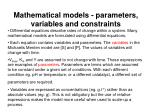 mathematical models parameters variables and constraints