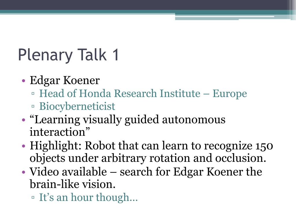 Plenary Talk 1