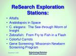 research exploration stations