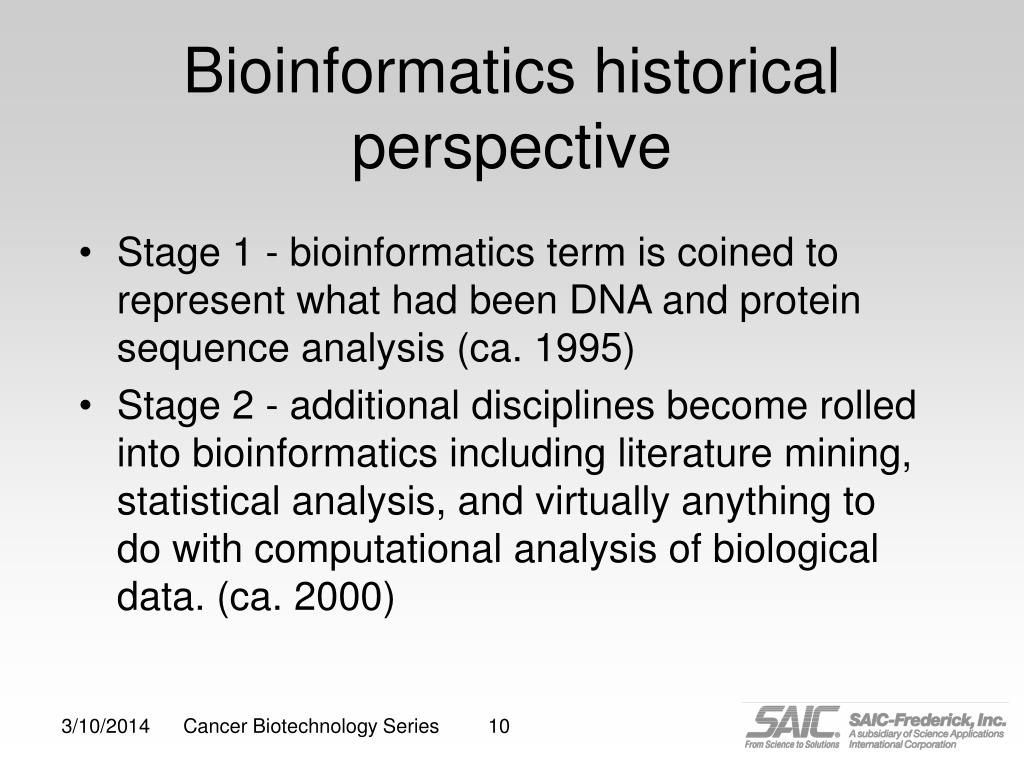 Bioinformatics historical perspective