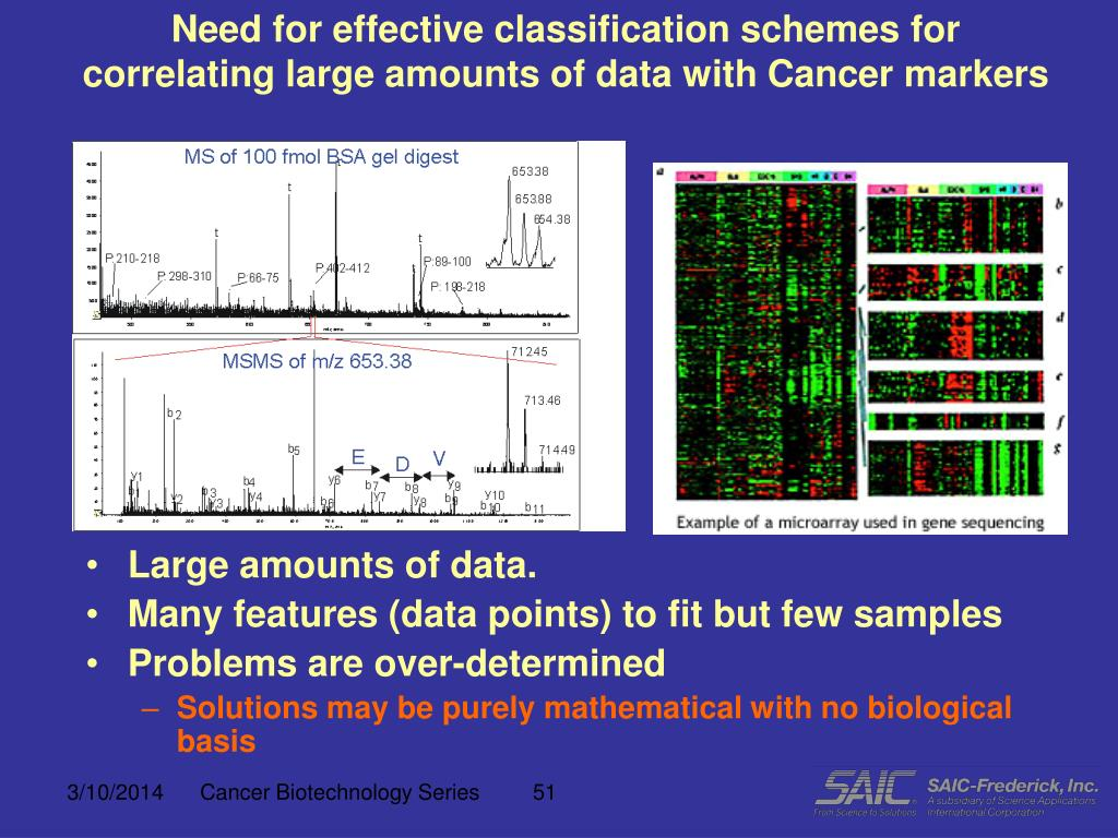 Need for effective classification schemes for correlating large amounts of data with Cancer markers