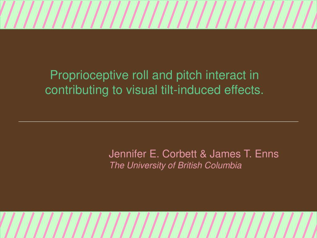 proprioceptive roll and pitch interact in contributing to visual tilt induced effects l.
