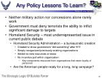 any policy lessons to learn
