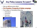 any policy lessons to learn38