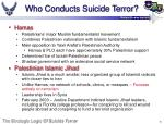 who conducts suicide terror