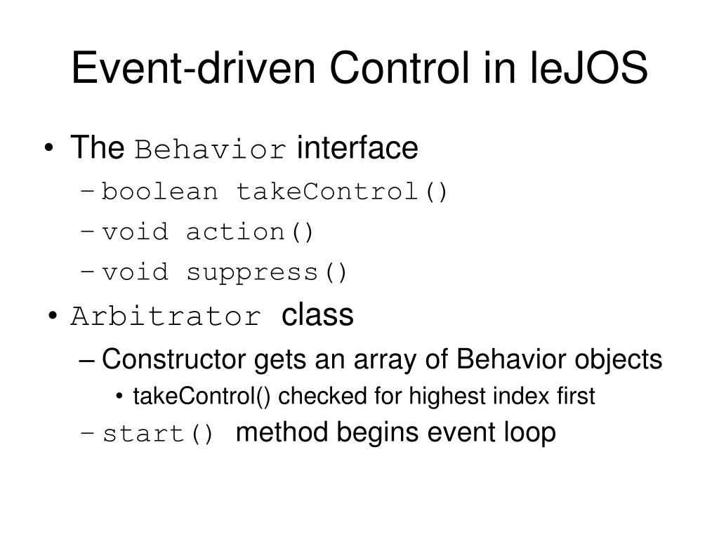 Event-driven Control in leJOS