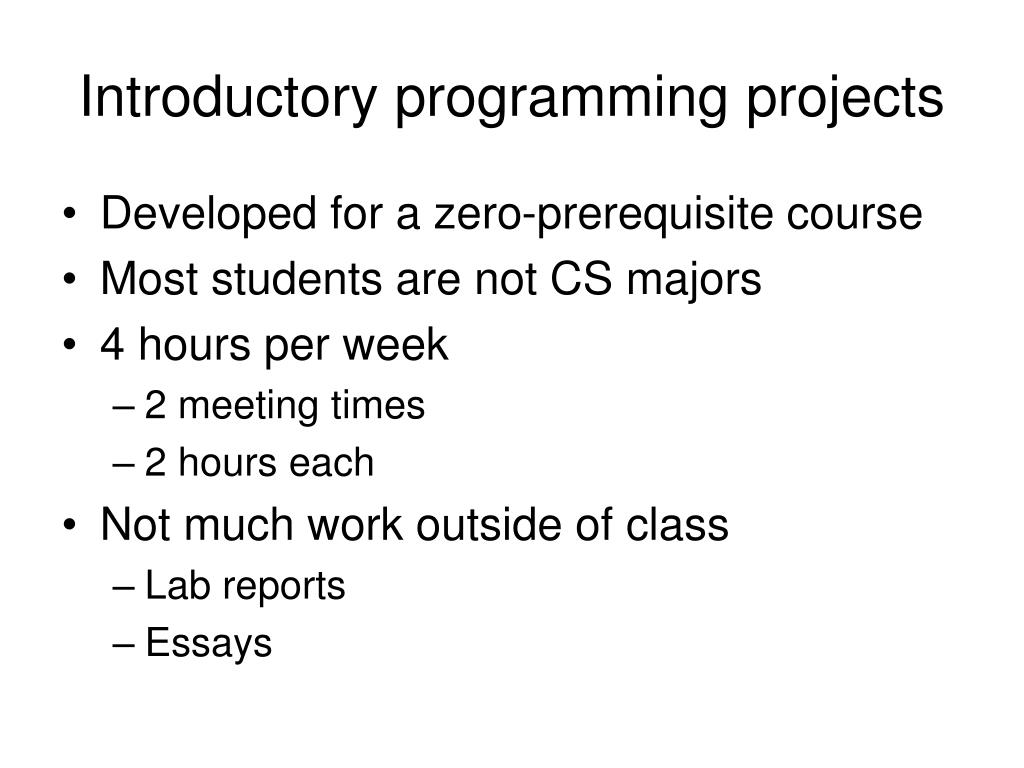 Introductory programming projects