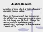 justice delivers