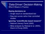 data driven decision making what it means in practice