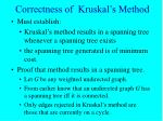correctness of kruskal s method