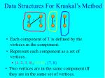 data structures for kruskal s method19