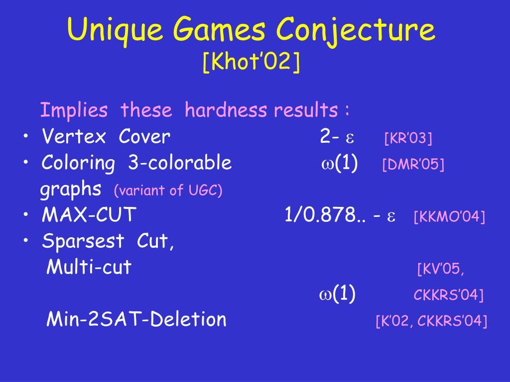 Unique Games Conjecture