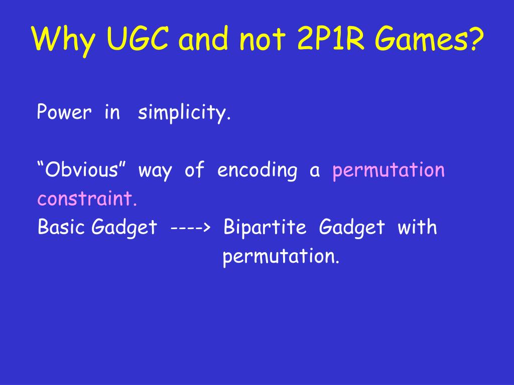 Why UGC and not 2P1R Games?