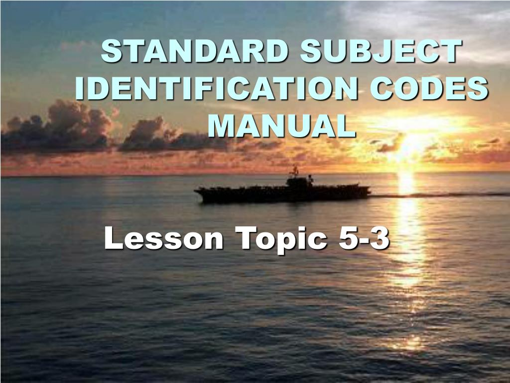 standard subject identification codes manual l.
