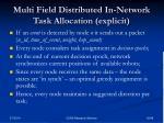 multi field distributed in network task allocation explicit