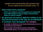 a further look at bertrand russell s questions that he says cannot be answered from science 2