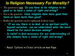 is religion necessary for morality