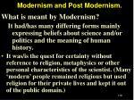 modernism and post modernism