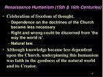 renaissance humanism 15th 16th centuries