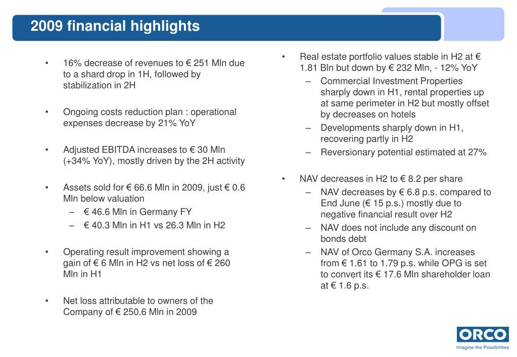 2009 financial highlights