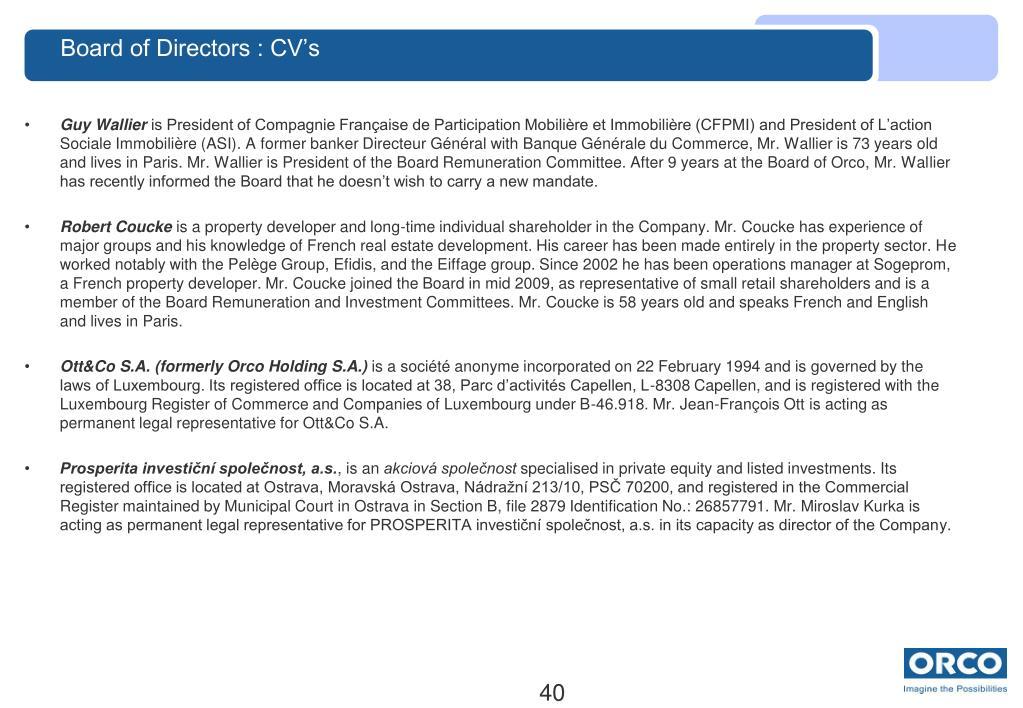 Board of Directors : CV's