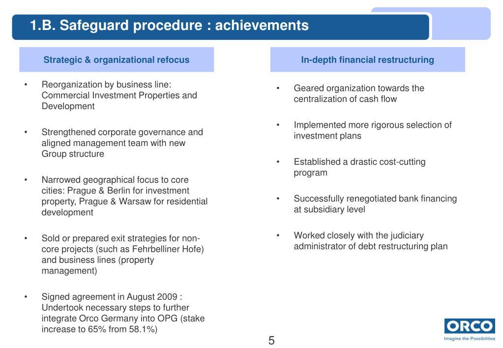 1.B. Safeguard procedure : achievements