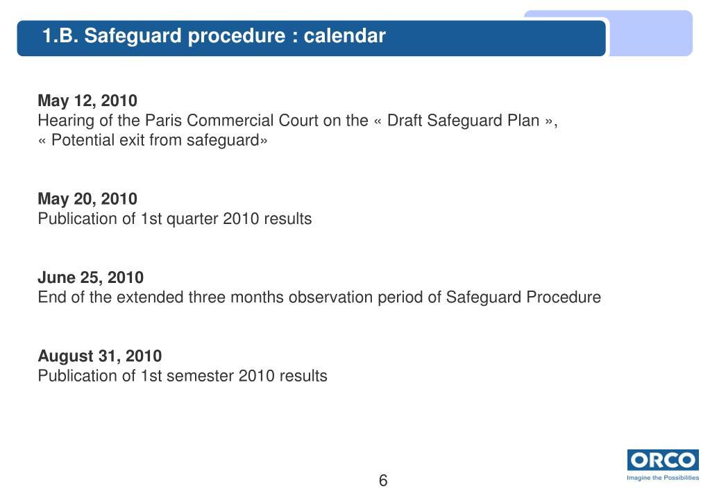 1.B. Safeguard procedure : calendar