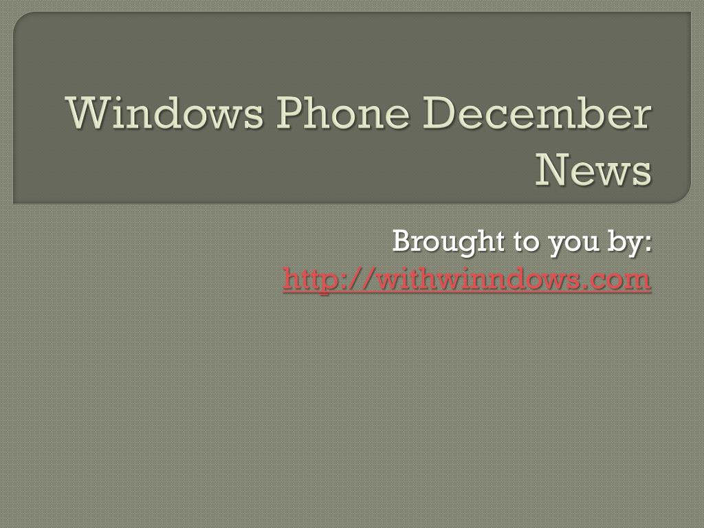 windows phone december news l.