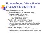 human robot interaction in intelligent environments