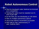 robot autonomous control