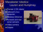 macalester robotics lauren and humphrey