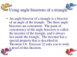 using angle bisectors of a triangle