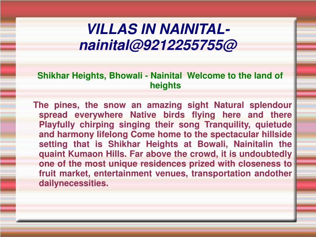 villas in nainital nainital@9212255755@ l.