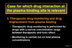 case for which drug interaction at the plasma binding site is relevant