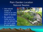 rain garden location natural swales