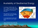 availability of geothermal energy