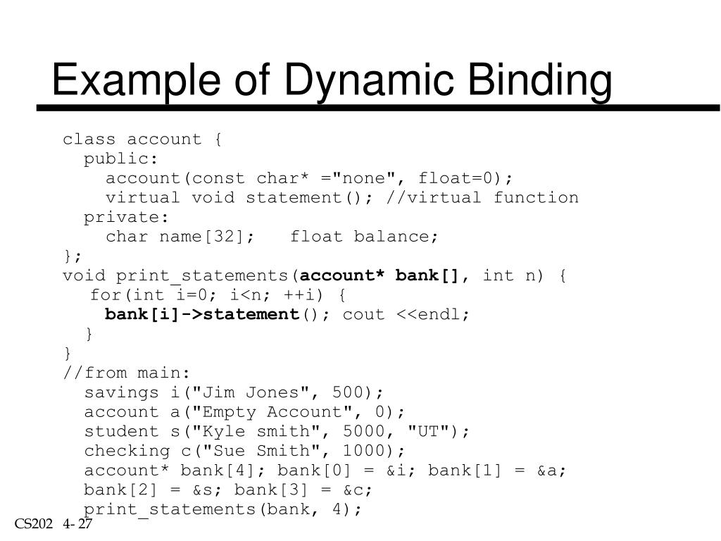Example of Dynamic Binding