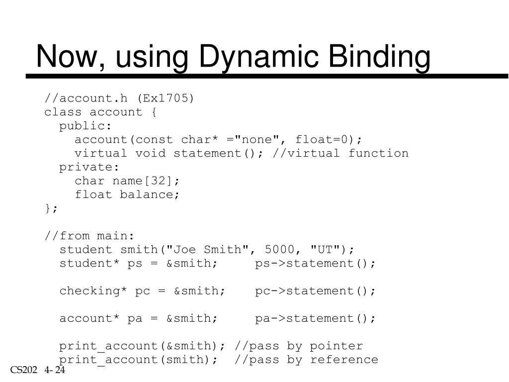 Now, using Dynamic Binding