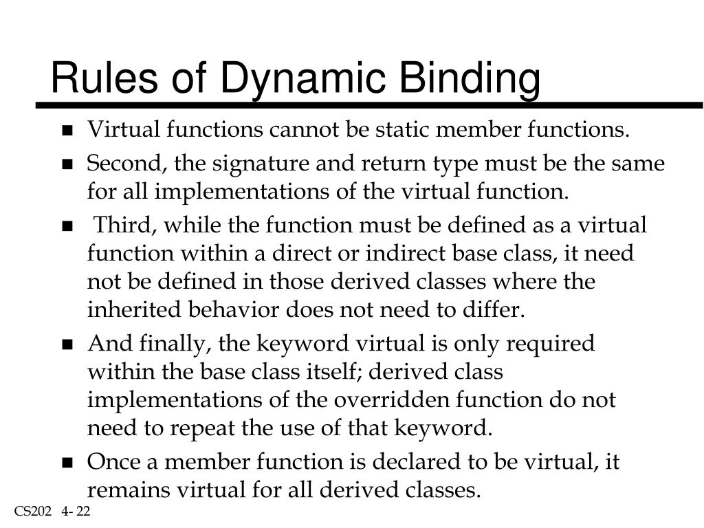 Rules of Dynamic Binding