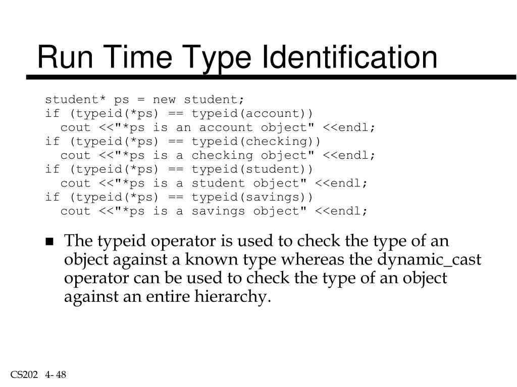 Run Time Type Identification