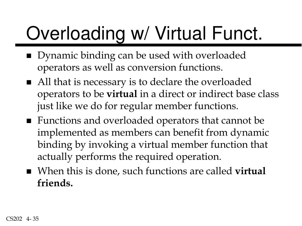 Overloading w/ Virtual Funct.