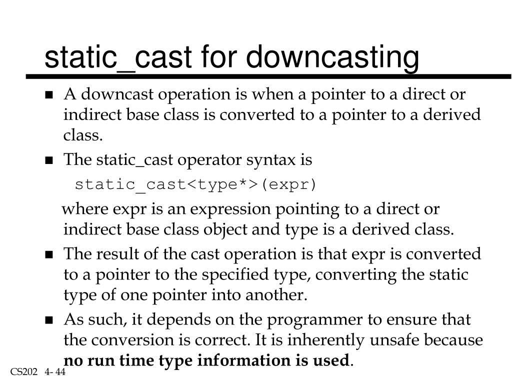 static_cast for downcasting
