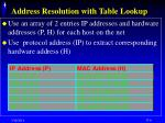 address resolution with table lookup